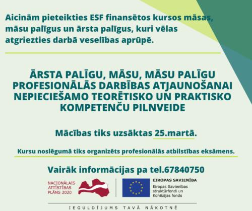 ESF apmaksāti kursi